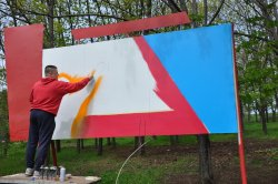 Ко Дню Победы в парке села Гиска появились граффити
